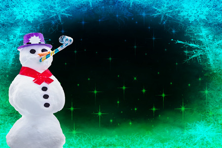 Merry christmas or happy new year card a funny partying snowman isolated on a frozen background with stars and snowflakes