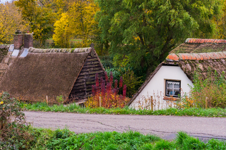 a countryside road with old typical dutch cottages with thatched rooftops Stockfoto