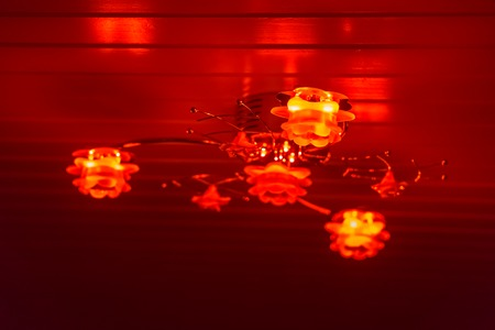 Modern ceiling lamp decorated with roses, shining red light in the dark, home interior background