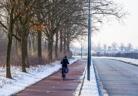 cyclist cycling on a road during winter season in the Netherlands