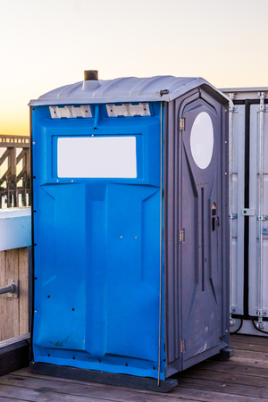 portable toilet box, popular mobile sanitary for events and construction sites Standard-Bild