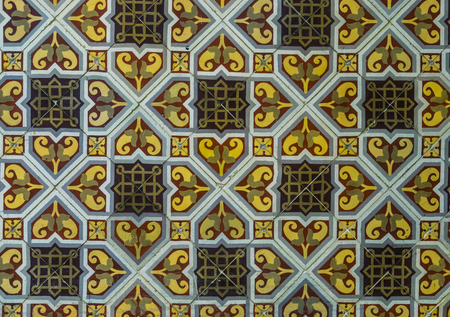 tiled wall with beautiful pattern, ornamental tiling, arabic architecture background Stock Photo