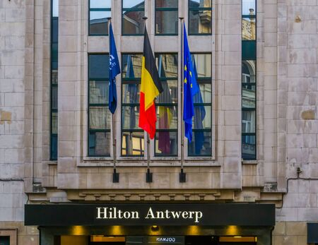 Antwerpen, Belgium, april 23, 2019, Sign board at the entrance of the Hilton hotel of Antwerp city Editorial