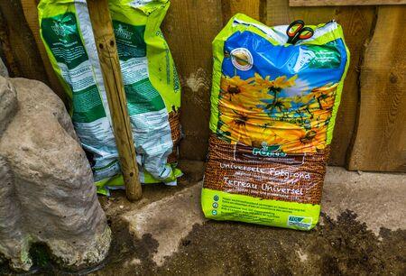 Kwadendamme, The Netherlands, march 19, 2019, humuforte bag of potting soil, organic fertilizers, biological gardening products