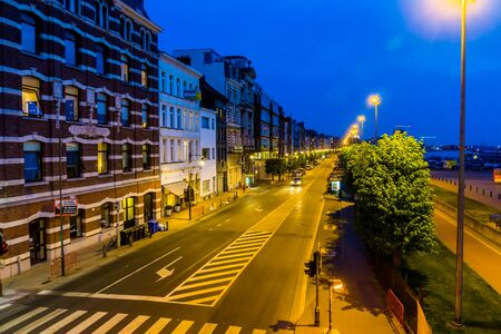 the street at the flemish quay in antwerp city, entrepot du congo building with many other buildings, antwerpen, belgium, april 23, 2019 Editorial