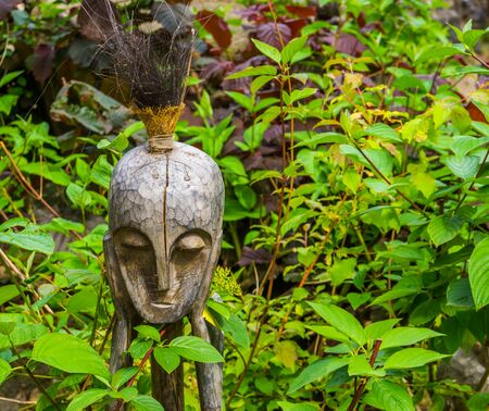 traditional african decorations, wooden sculpture, decorations for the garden, nature background