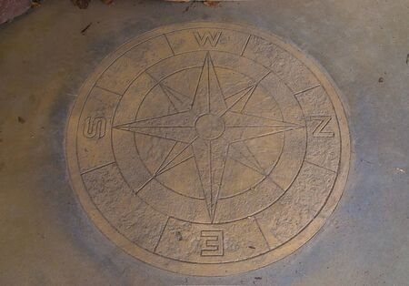 wind direction compass on a floor, vintage decorations, sailing background Banque d'images