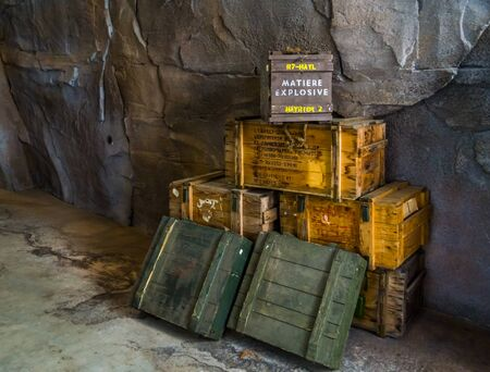 wooden boxes filled with explosives, Dangerous substances, storage with dynamite, Rhenen, 31 may, 2019, The netherlands