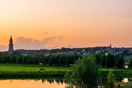 city view of Rhenen during sunset, beautiful Rustic town in the Netherlands Reklamní fotografie