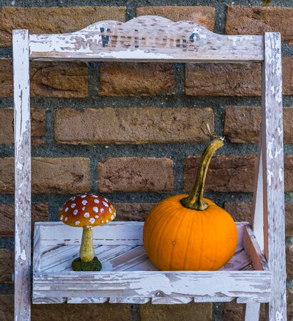 Welcome sign decorated with halloween and autumn ornaments, Traditional and seasonal background