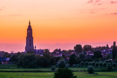 beautiful cityscape of rhenen with church tower during sunset, Rural town in The Netherlands Standard-Bild - 130817244