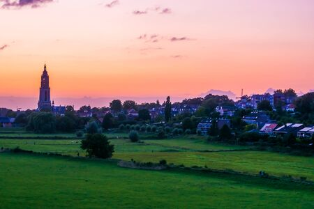 Rural cityscape of rhenen during sunset, Beautiful rustic town in the netherlands Standard-Bild - 130817247