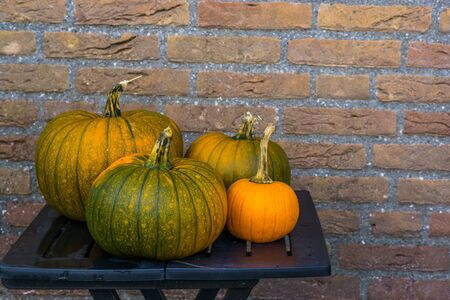 table with orange and green pumpkins, halloween and autumn decorations, seasonal tradition