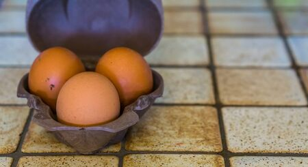 small case of three chicken eggs, Healthy source of protein, popular food products Stock Photo
