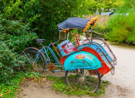 Classical cycle ricksha cart, Vintage transportation vehicle from Asia