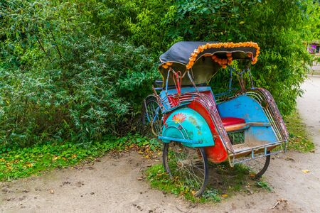 traditional asian cycle ricksha cart, Vintage transportation vehicle from Asia Reklamní fotografie