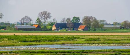 Farm building in the schakerloopolder of Tholen, countryside and nature reserve, Zeeland, The netherlands Stockfoto