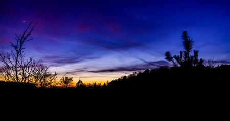 beautiful and colorful sunset on the Rucphense heide, Heather landscape in Rucphen, The Netherlands Stockfoto