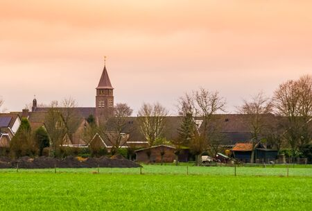 skyline of rucphen during sunset, a small rustic village in North Brabant, The Netherlands