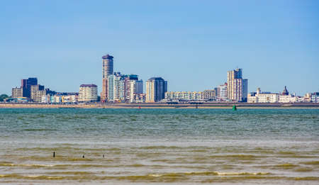 View on vlissingen city and its beach from Breskens, Popular and touristic city in Zeeland, The Netherlands