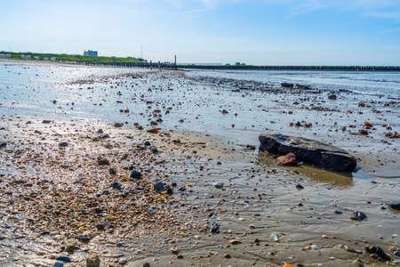 mudflats on breskens beach with rocks, coastal landscape, Zeeland, The Netherlands