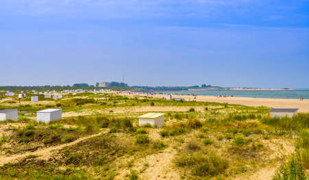 Dunes of Breskens with view on touristic Beach, Zeeland, The Netherlands 版權商用圖片