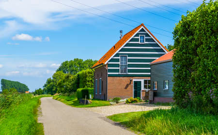 classical dutch countryside house with road, Architecture in Zeeland, The Netherlands 版權商用圖片