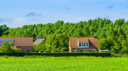 Dutch country side houses, Waterlandkerkje, Zeeland, The netherlands