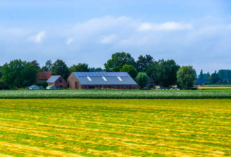 classical dutch landscape with a barn, Waterlandkerkje, Zeeland, The netherlands