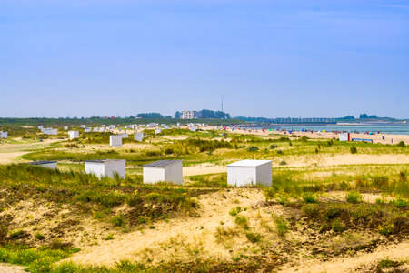 Beautiful dutch sand dunes of Breskens with cottages and view on the beach, Zeeland, The Netherlands 版權商用圖片