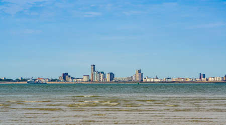 view on Vlissingen city from Breskens beach, popular dutch city in Zeeland, The Netherlands Reklamní fotografie - 158295772