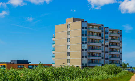 Modern apartment complex at the beach of Breskens, Zeeland, The Netherlands