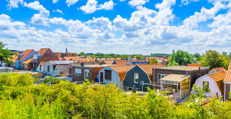 beautiful skyline with houses of breskens city, Zeeland, The Netherlands 新聞圖片