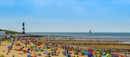 the popular beach of Breskens, Very crowded during summer season, Breskens, Zeeland, The Netherlands, 20 July, 2020