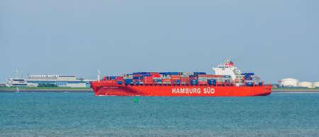 Huge container ship sailing in Vlissingen, Monte cervantes, hamburg sud, Breskens, Zeeland, The netherlands, July 20, 2020