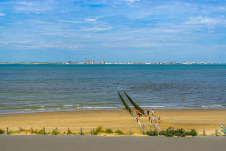 the beautiful beach of Breskens during summer season with view on Vlissingen, Breskens, Zeeland, The Netherlands, 20 July, 2020
