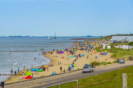 the Beautiful beach of breskens during tourist season in summer, Breskens, Zeeland, The Netherlands, 24 July, 2020