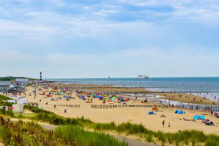 beach of breskens during touristic summer season, Breskens, Zeeland, The Netherlands, 20 July, 2020