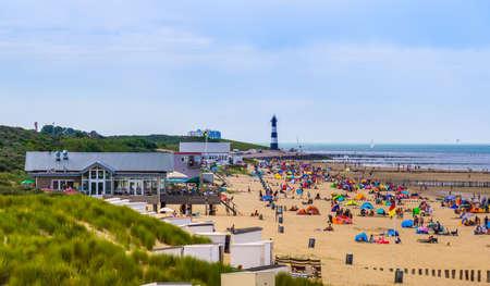 tourists recreating at breskens beach during summer season, Breskens, Zeeland, The Netherlands, 20 July, 2020