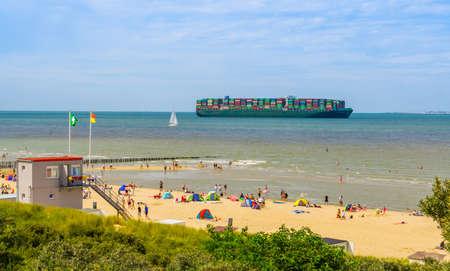 Tokyo triumph sailing on the ocean during summer season, container transport, Breskens, Zeeland, The Netherlands, 20 July, 2020 Publikacyjne