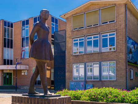 the dancing girl, het dansellesje, popular city sculpture, Raadhuisplein, Oostburg, Zeeland, The netherlands, 24 July, 2020
