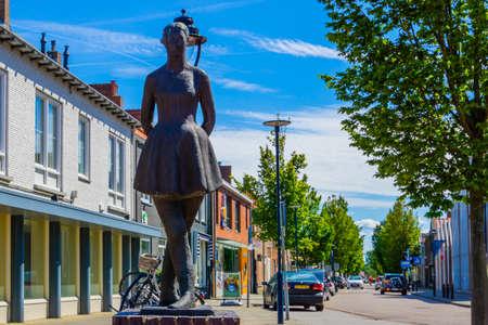 The dancer, dancing girl, well known city monument, Raadhuisplein, Oostburg, Zeeland, The netherlands, 24 July, 2020