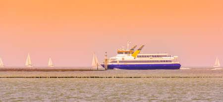 princess maxima boat sailing during sunset, ferry service between Vlissingen and Breskens, Breskens, Zeeland, The netherlands, 20 July, 2020 Publikacyjne