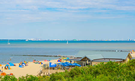 view on the beach of Breskens with dutch Terrace, Breskens, The netherlands, 20 July, 2020