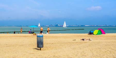 summer season on the beach of Breskens, view on vlissingen, Breskens, The netherlands, 20 July, 2020 Publikacyjne