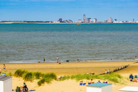 scenery of the beautiful beach of breskens during summer season, view on vlissingen city, Breskens, Zeeland, The Netherlands, 20 July, 2020