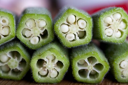 Closeup of cut Okra.