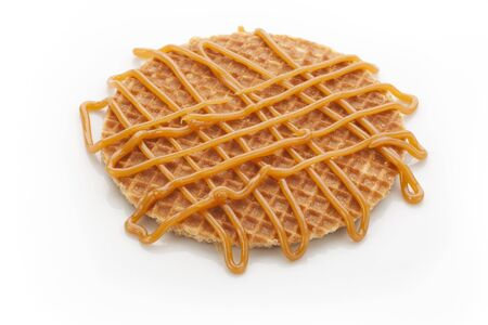 Dutch stroopwafel with caramel topping isolated on white background. Stock Photo - 7837335