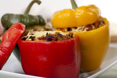 Fresh bell peppers stuffed with wild rice blend.