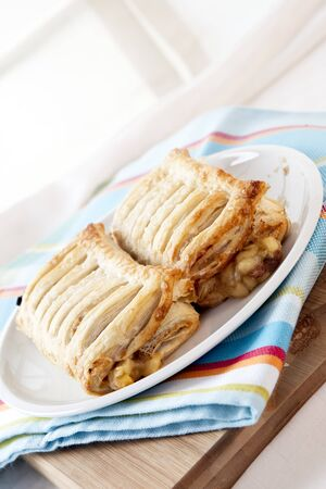 strudel: Fresh baked apple strudel Stock Photo